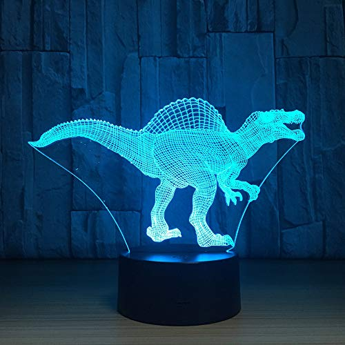 3D Night Light Touch Lampade da tavolo, French Day Deal Lampada LED Dinosaur Lampada visiva Lampada Illusione ottica ColorsSensor Bedroom Ligh