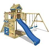 WICKEY Spielhaus auf Stelzen Smart Lodge 150 Spielturm Kinder-Spielplatz mit Schaukel und Rutsche, großem Sandkasten und vielen Accessoires, blaue Rutsche