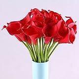 'Generic E 10Head wunderschönes Künstliche Calla Lily Brautschmuck Hochzeit Bouquet Künstliche Rose Bouquet, PU, rot, 10 Stück