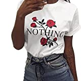 Frauen Casual T-Shirt O-Ausschnitt Kurzärmelige Unregelmäßige Tops Damen Off The Shoulder Strassenbande Shirt Nothing Rose Drucken Vest Sommer Beiläufiges Bluse Elegant (XL, Weiß)