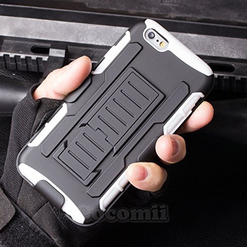 iPhone 6S Plus / iPhone 6 Plus Coque, Cocomii Robot Armor NEW [Heavy Duty] Premium Belt Clip Holster Kickstand Shockproof Hard Bumper Shell [Military Defender] Full Body Dual Layer Rugged Cover Case Étui Housse Apple (White)