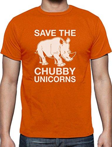 Lustiges Geschenk Save the Chubby Unicorn T-Shirt Orange