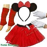 Minnie Maus Kostüm, Tutu Ohren Beinlinge Set, Handschuhe