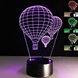 SUPERNIUDB 3D Hot air balloon Night Light Table Light 3D Cartoon Lamp Table Lamp 3D LED USB 7 Color Change LED Table Lamp Xmas Toy Gift
