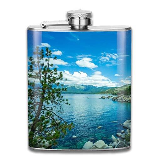 Lake Tahoe Lakes Tree Rock Forest Edelstahl Flachmann, Pocket Flagon, Camping Wein Topf, tragbare Schnaps Flagon Retro-Taschenflasche für Männer und Frauen Geschenk