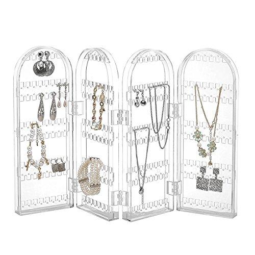 Thee pieghevole acrilico gioielli gruccia organizer orecchino collana braccialetto espositore clear
