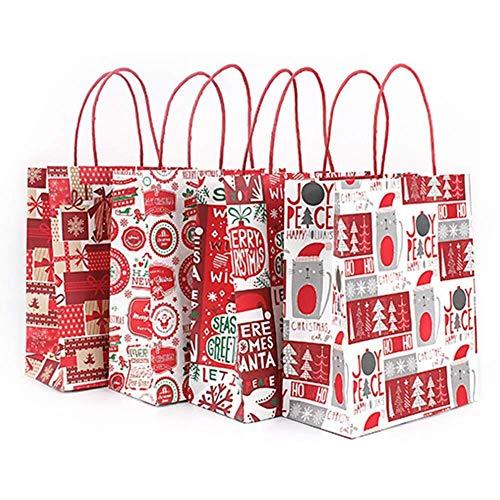 Gaodaweian Aufbewahrungstaschen platzsparend Tasche, 4er-Set Kraftpapier große Kapazität Wiederverwendbare Weihnachtsfeier dekorative Gefälligkeiten Süßigkeiten Schokolade Kekse Handtasche (HB