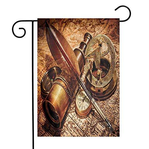 Charlo Ann Einseitig Garten Flagge Antik Kompass Gans Feder Spyglass und eine Taschenuhr auf Einer Alten Karte liegend Drucken Orange Braun