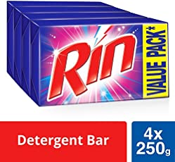 RIN Detergent Bar - 250 g (Pack of 4, Rupees 8 Off)