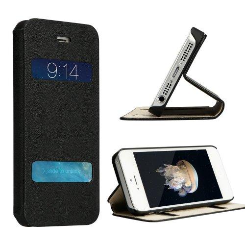 Labato® ECHT Leder(Ziegenleder) Hülle für das iPhone 5 5S SE mit Sichtfenster Standfunktion im Bookstyle Einfach Elegant Case Ledertasche Apple Handy Zubehör Lederhülle mit Versteckende Magnetverschluss, dünne und schlanke Etui, schwarz, Lbt-I5S-11L10 (Apple I Phone 4s Entsperren)
