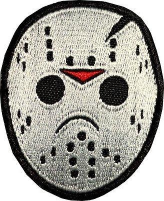 (MemelBurg Jason Voorhees Hockey Maske bestickt Eisen auf Patch Horror Film Abzeichen Freitag der 13. vs Freddy Souvenir Applique Motiv DIY Kostüm)