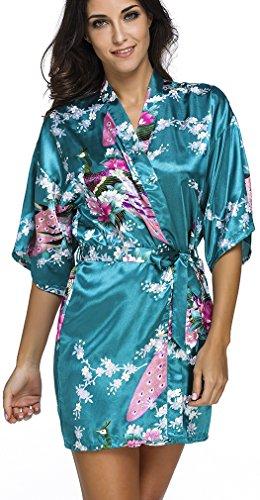 FLYCHEN Donna Accappatoi Kimono da Notte in Raso festa di