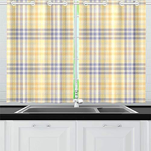 QIAOLII Plaid Küche Vorhänge Fenster Vorhang Ebenen für Café, Bad, Wäscheservice, Wohnzimmer Schlafzimmer 26 x 39 Zoll 2 Stück - Vorhänge Plaid Küche