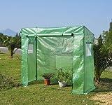 Invernadero 200x77x169 cm Tubo de Acero 1 Puerta 2 Ventanas Tomates Semillero