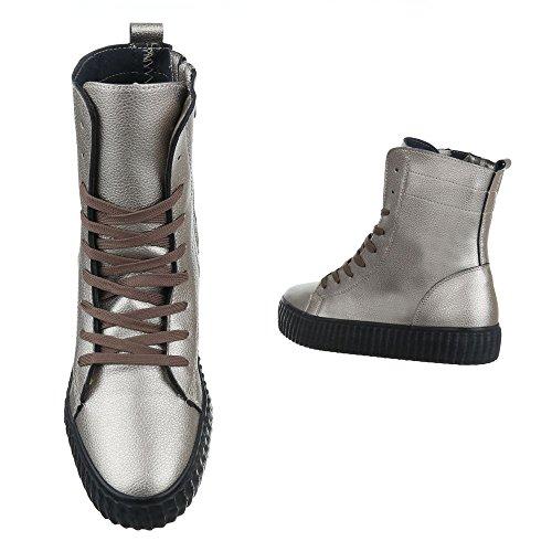 High-Top Sneaker Damenschuhe High-Top Moderne Reißverschluss Ital-Design Freizeitschuhe Silber Grau