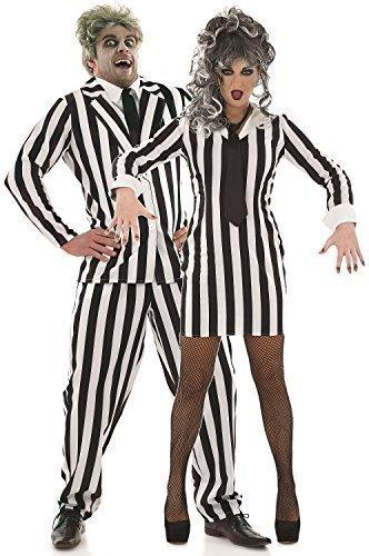 Paar Damen UND Herren Schwarz Weiß Beetlejuice Halloween Film Kostüm Outfits - Schwarz/weiß, Ladies UK 8-10 Mens Medium (Damen Beetlejuice Kostüme)