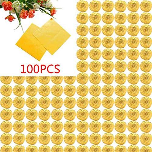 Dpolrs 100pcs Platz Aluminiumfolie Wrappers Bunte Paket für Süßwaren Süßigkeit Schokolade Lollipops
