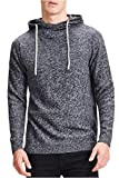 JACK & JONES Herren Kapuzenpullover JORERIS Knit Hood STS, Grau(Light MelangeLight Grey Melange), Small