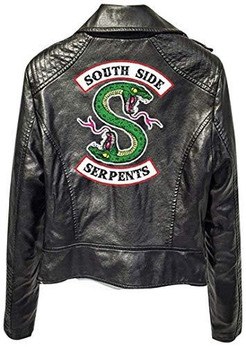 SilverBasic Riverdale Veste en Cuir Serpent Femme Cuir Vernis Pull Chic Pas Cher Ado Fille Gilet Court Blouson Manteaux Sweat-Shirt L,3-Noir KS-b