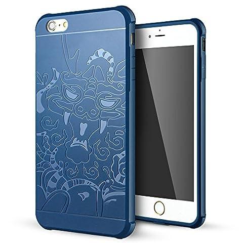 iPhone 6 Plus Coque,iPhone 6s Plus Coque,Lizimandu Tpu Silicone Gel Étui Housse Protection Shell Cover Case Pour apple iphone 6plus/6s plus(Dragon Bleu/Dragon Blue)