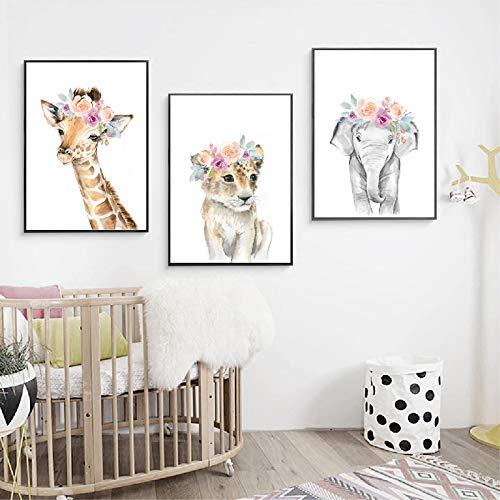 Nordic Ideas 3 Posters Chat éléphant Girafe Chambre de Bébé Affiches Animaux Tableau Enfants Fille Garcon Décorations Murales Impression sur Toile sans Cadre PTAN004-L