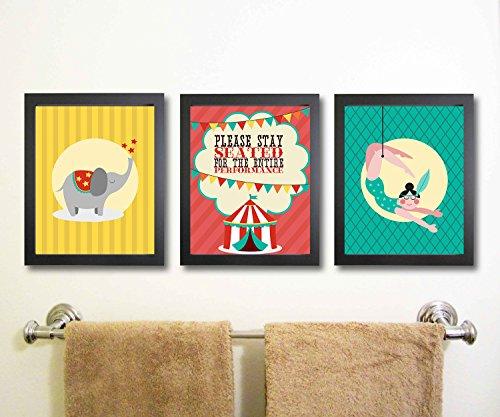 Silly Goose Gifts Fun Circus Badezimmer-Wanddekoration, 3er-Set