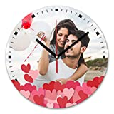 LaMAGLIERIA Reloj de Pared Personalizado con tu propria Foto - Reloj de Pared en Vidrio - Redondo...