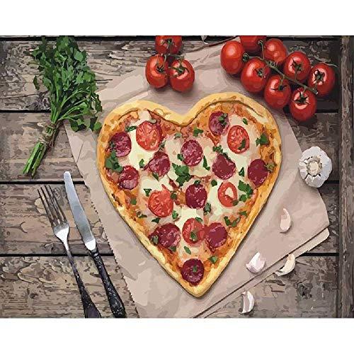GAGALAM Puzzel Erwachsene 1000 Teile Herzförmige Pizza.Bestes Geschenk Für Kinder Oder Freunde, Home Art Deco-Malerei (Pizza Puzzle Jigsaw)