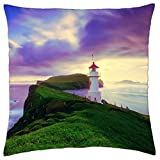 "Faroe Islands Lighthouse - Throw Pillow Cover Case (18"" x 18"")"