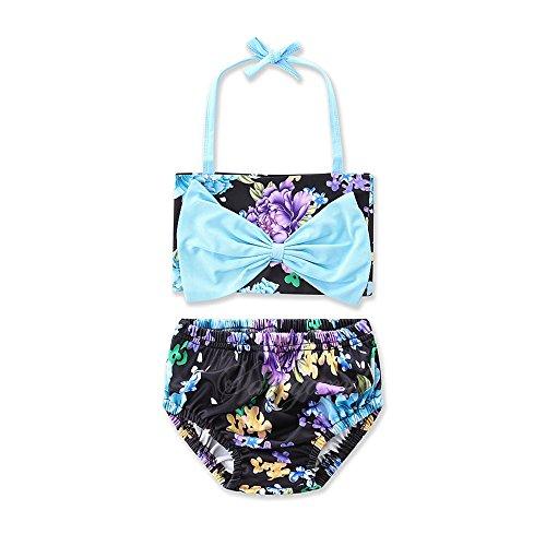 Paisdola Little Baby Mädchen Zweiteilige Bademode Bikini Sets mit blauen Bowknot und Blumendruck (3T(100cm), Blau) (Mädchen Bikini-3t)