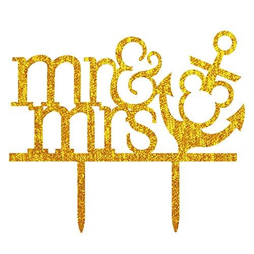 Lanlan Creative MR & MRS Hochzeit Tortenaufsatz, mit Anker Golden Acryl Shining Bride Groom Engagement Jahrestag Kuchen Dekoration