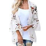 MRULIC Damen Florale Kimono Cardigan Boho Chiffon Sommerkleid Beach Cover up Leicht Tuch für die Sommermonate am Strand oder See (3XL, Weiß)