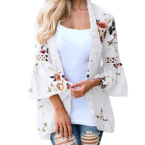 MRULIC Damen Florale Kimono Cardigan Boho Chiffon Sommerkleid Beach Cover up Leicht Tuch für die Sommermonate am Strand oder See (XL, Weiß)