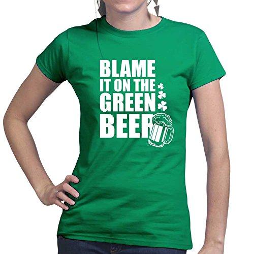 Grünes Bier Irish St Patrick's Kobold Kleeblatt Clover Ladies T shirt Tee Top (T-shirt Kobold-grün)