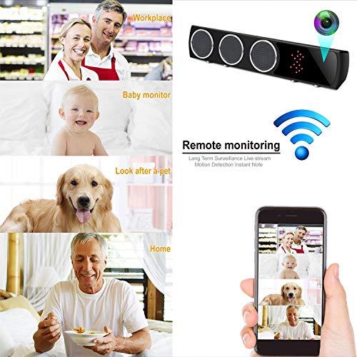 Altavoz Bluetooth IP con Cámara Espía Wifi Oculta Inalámbrica HD1080P, Rango de 160 Grados Visión Nocturna con Tarjeta SD de 32G Incorporada para Vigilancia del Interior, Hogar, Monitor de Seguridad