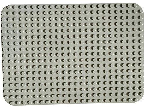 PapiMax Groß básicas plate planchas de construcción Gris claro 38x27cm ( 24 x 17 studs) Dark Green base