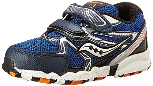 Saucony Boys Baby Cohesion H&L Running Shoe (Toddler),Navy/Silver/Orange,4.5 M US Toddler (-, Saucony Kleinkind Schuhe)