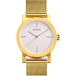 MEDOTA Stainless Steel Waterproof Watch Minimalist Luxury Series Swiss Watch Quartz Womens Watch - No. 21704 (Gold)