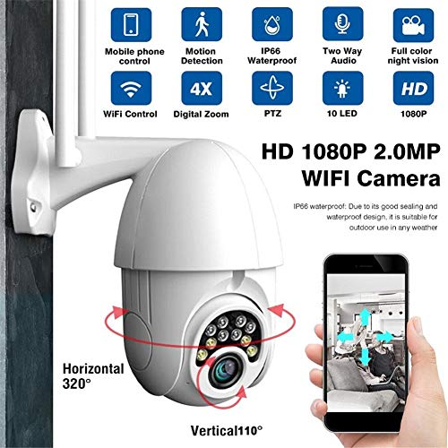 cheerfulus Neue IP 1080P Kamera WiFi, 2MP drahtlose Kamera Speed   Dome CCTV Kamera im Freien 5 x Zoom PTZ IP Camara Exterior