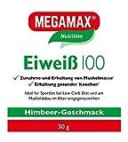 Megamax Eiweiss Himbeere. Molkenprotein + Milcheiweiß Eiweiß Protein mit Biologischer Wertigkeit ca. 100. Für Muskelaufbau und Diaet. Inhalt: 30 g