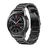 MroTech Metallarmband Ersatz für Gear S3 Armband 22mm Edelstahl Uhrenarmband Kompatibel für Samsung Gear S3 Frontie Classic, Galaxy Watch 46mm, Pebble Time, Moto 360 46mm, LG G Watch 22 mm (Schwarz)
