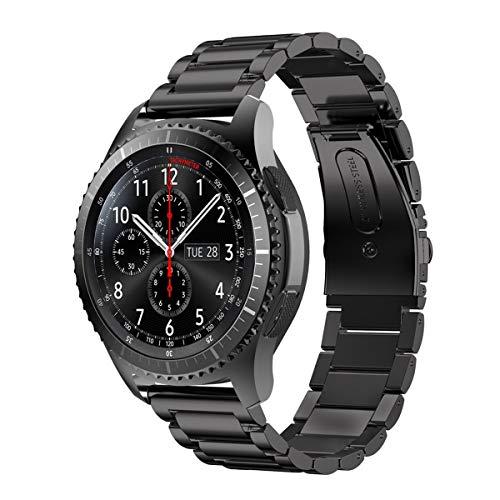 MroTech Correa Compatible para Samsung Gear S3 Frontier 22mm Sólido de Acero Inoxidable Metal Band Correa de liberación rápida Pulseras de Repuesto para Galaxy Watch 46mm, Gear S3 Bandas Negro