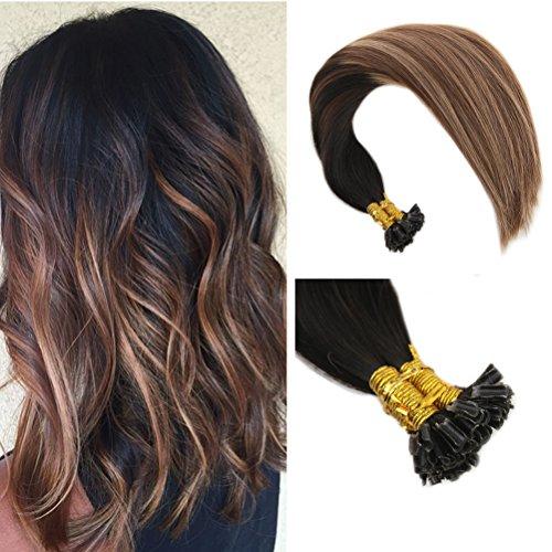 Ugeat #1B/4/27 Pro Bonded U-tip Remy Hair Extensions 40cm 1g/s Off Black mit Strawberry Blonde und Dark Brown Ombre Echthaar Remy Tressen (Hair Strawberry Extensions)
