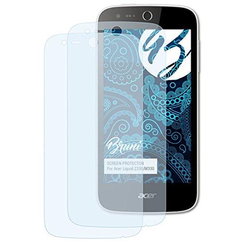Bruni Schutzfolie kompatibel mit Acer Liquid Z330/M330 Folie, glasklare Bildschirmschutzfolie (2X)