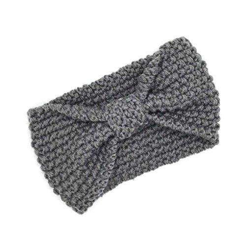 Lidahaotin Mädchen-Haar-Accessoires Mode-Winter-Warme Frauen Bowtie Crochet Geflochtene Wollmütze Mütze Stirnband Lady Haarband Grau
