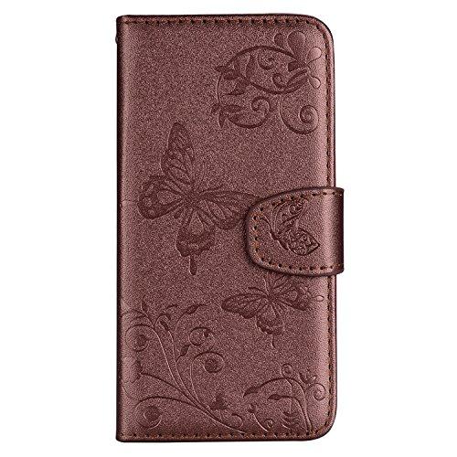 Kompatibel mit Lederhülle Galaxy A6 2018, PU Leder Brieftasche Flip Case Cover Ledertasche Handytasche Lederhülle Tasche Galaxy A6 2018, Schön Elegante Retro 3D Schmetterli