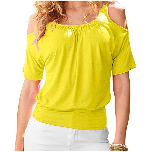 IHRKleid Damen Schulterfrei Tops Loose Bluse Sommer Rundhals Casual kurzarm T-Shirt Gelb