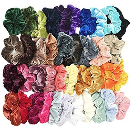 Scrunchies, 40 Stück Haargummis Mädchen Haar Scrunchies Samt Elastische Haarbänder Pferdeschwanz Haarband mit Tasche Bunten by Vovotrade (Mehrfarbig, 40 pcs)