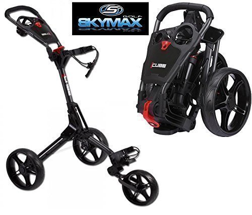 Sky Max Cube 3 Wheel Black/Black Golf Trolley Pull/Push New + Travel Cover &Tee Pack