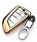 YUWATON KFZ Schlüssel Cver KFZ Schlüssel Fall Auto Fernbedienung, für Mercedes-Benz A B C E Class GLA GLC GLE Schlüsselanhänger Key Cover Schutz Schlüssel Button Gold